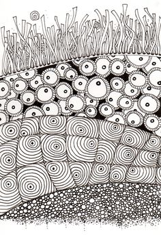 #78 Zentangle - What I imagine is beneath the grass.