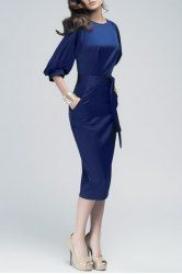 Noble Solid Color Puff Sleeve Waist Lace-Up Dress For Women