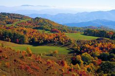 Max Patch on the Appalachian Trail near Hot Springs, North Carolina, in fall color