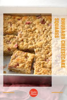 It's rhubarb season, so now's the time to try this rich and tangy cheese bar. It's bound to be a hit with the rhubarb lovers you know. —Sharon Schmidt, Mandan, North Dakota Cheese Bar, Cheesecake Squares, Cinnamon Cream Cheeses, Bar Recipes, Vegetarian Cheese, North Dakota, Dessert Bars, Baking Pans, Schmidt