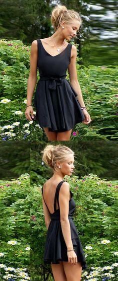 backless homecoming dress,v neck homecoming dresses,black casual dress ,little black dresses,short black chiffon homecoming dress,short black prom dress under 100,simple homecoming dresses short,cheap homecoming dresses