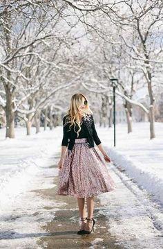 Sequin Rose Gold Midi Skirt