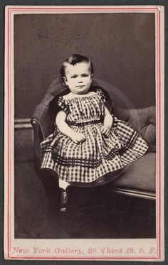 Cute Baby Boy Impish Expression in Gingham Frock by New York Gallery California | eBay