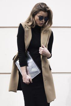 street style Beige vest Kenzo  Dior sunglasses Black dress Fashion