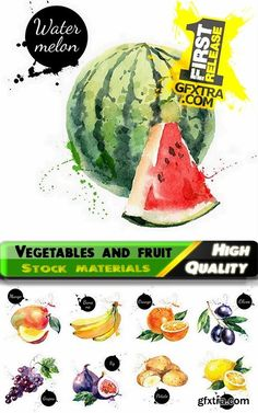 Watercolor vegetables and fruit creative atr - 25 Eps