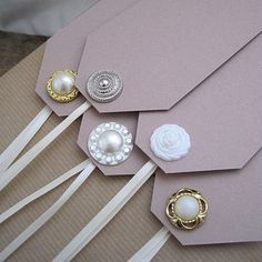 Pretty tags with ribbon tie and buttons