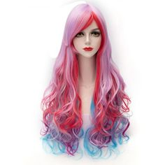 Towheaded Wave Inclined Bang Trendy Colorful Gradient Capless Long Synthetic Costume Wig For WomenCosplay Wigs | RoseGal.com