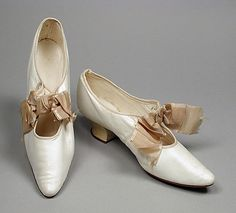 Pair of Woman's Bar Shoes (Wedding) United States circa 1890-1910