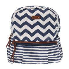 <P>Let this be your go to summer bag! This chevron and striped backpack features distressed navy and white with brown faux leather accents. </P><UL><LI>Zippered closure <LI>Brown faux leather details <LI>Adjustable shoulder straps <LI>1 large zippered opening, 2 small zippered pockets and 1 elastic pocket </LI></UL>