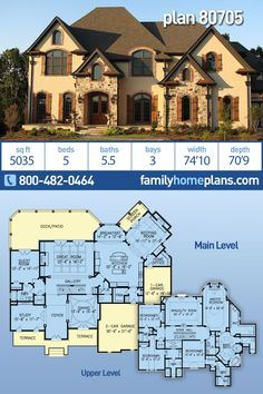 European, French Country, Traditional House Plan 80705 with 5 Beds, 6 Baths, 3 Car Garage Family House Plans, New House Plans, Dream House Plans, House Floor Plans, Family Houses, Modern Farmhouse Plans, Country Farmhouse Decor, Farmhouse Design, Master Suite