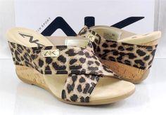 AK Anne Klein Sport LORRI Wedge Slide Sandals Black/Gold Leopard Sparkle Size 9 #AnneKlein #Slides