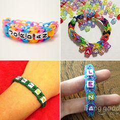 100pcs Loom Rubber Band Letter Alphabet Loose Beads DIY Craft Bracelet