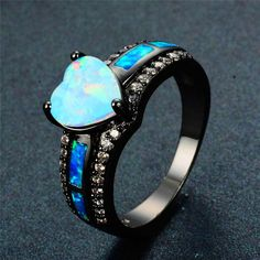 Balakie Ring Opal Inlay in Six Claw Ring Fashion Womens Wedding Engagement Jewelry Fine Gift