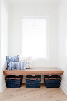 entry, floating bench, indigo, african mudcloth
