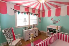 OK, that's an insanely cool idea for the ceiling of a kid's room or playroom. I want a circus nursery! Canopy Bedroom, Diy Canopy, Canopy Tent, Wooden Canopy, Beach Canopy, Fabric Canopy, Tree Canopy, Window Canopy, Nursery Design