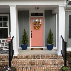 White Lilac Wreaths for Front Door Farmhouse Porch Decor Coral Front Doors, Coral Door, Front Door Paint Colors, Painted Front Doors, Front Door Decor, Paint Colours, Exterior Door Colors, Exterior Doors, Exterior Paint