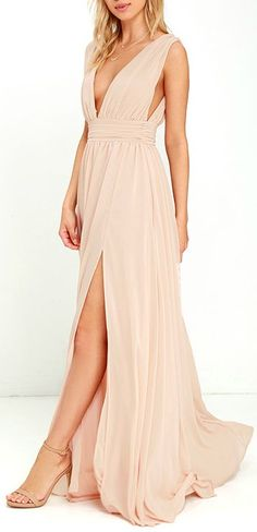 You'll be goddess-like for the entire evening in the Heavenly Hues Blush Maxi Dress! Georgette fabric drapes alongside a V-neck and back, and lays across a banded waist. Full maxi skirt has a sexy side slit. #lovelulus