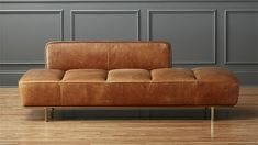 Shop Lawndale Saddle Leather Daybed with Brass Base. Midcentury meets so-right-now in this tumbled leather daybed with gleaming brass base. Designed exclusively for by Londoner Leonhard Pfeifer, the piece needed to achieve a lived-in look. Leather Daybed, Saddle Leather, Brown Leather, Leather Sofas, Leather Furniture, Living Room Sofa, Living Room Furniture, Modern Sleeper Sofa, Sleeper Sofas
