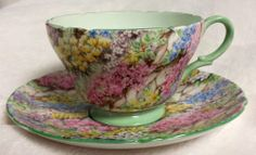 Shelley China Chintz Cup & Saucer - Henley Shape with Rock Garden Pattern 13454
