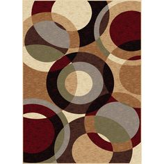 Infuse your room with toned down color and modern design when you put this contemporary multi-colored rug on your floor. The pattern consists of multi-colored, brown-and-tan toned circles. It measures 7'10 x 10'3, perfect for a medium sized space.