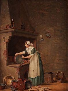 """PEHR HILLESTRÖM, """"En Qvinna som skurar koppar"""".  Duk uppklistrad på pannå 53,5 x 41,5 cm. Samtida förgylld ram i Pehr Ljungs art. 9752746 bukobject"""