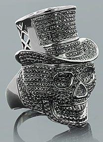 ring skull top hat stones