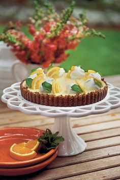 Easy as icebox pie, this party-pretty tart pairs the bright fresh flavors of lemon and orange with a crisp gingersnap crust. It's just the right finish for a rich holiday meal, and freezes beautifully.  Recipe: Double Citrus Tart