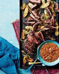 Skirt Steak with Roasted Tomato Chimichurri and Potatoes Recipe on Food