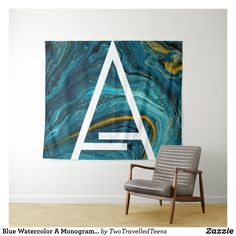 Blue Watercolor A Monogram Tapestry Marble Tapestry, Christmas Card Holders, Bed Spreads, Keep It Cleaner, Vivid Colors, Picnic Blanket, Monogram, Watercolor, Prints
