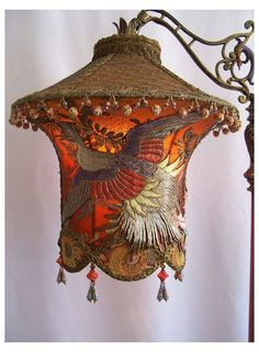 Your place to buy and sell all things handmade #refurbished #antique #floor #lamp #refurbishedantiquefloorlamp Grand Phoenix Exotic Bird Embroidered Lantern by peacockgypsy Antique Floor Lamps, Victorian Lamps, Roof Edge, Make A Lamp, Amber Color, Lampshades, Vintage Lamps, Chandeliers, Antique Gold