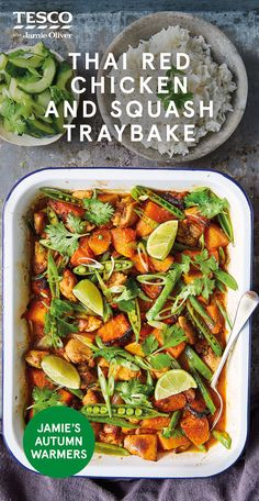 "Thai red chicken and squash traybake, Food And Drinks, Jamie Oliver says, ""This beautiful curry is full of attitude with punchy, aromatic flavours softened by creamy coconut milk. Swapping squash for pumpk. Meat Recipes, Asian Recipes, Chicken Recipes, Dinner Recipes, Cooking Recipes, Midweek Meals, Easy Meals, Healthy Cooking, Healthy Eating"