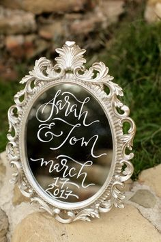 Mirror lettering at Knapp's Castle. Photo by Rebecca Rivera Wedding Photography. Styling by Wunderland Co. Typography Fonts, Typography Design, Lettering, Mirror Letters, Chalk Art, Celtic, Stationery, Wedding Photography, Photoshoot