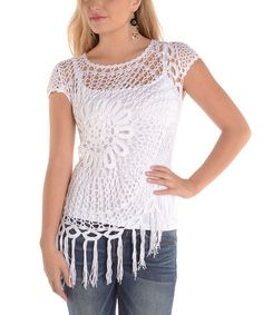 Shoreline White Crochet Scoop Neck Top | zulily