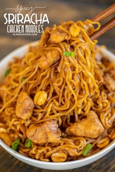 Spicy Sriracha Chicken Noodles - ready to eat in 15 minutes! No joke!!! SO easy!!! Only 6 ingredients - Chicken, ramen noodles, brown sugar, soy sauce, sriracha, and peanuts. Garnish with green onions. Great way to use up leftover chicken! Can add broccoli, green beans or asparagus. We ate this twice in one week. Everyone LOVES this easy noodle bowl!! #chicken #asian #ramen #noodles