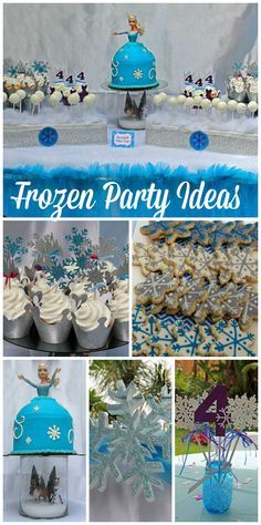 A Frozen girl birthday party with a glitter tulle table skirt and backdrop and an Elsa cake and cupcakes!  See more party planning ideas at CatchMyParty.com!