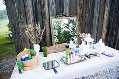 primping station outside bathrooms for outdoor weddings