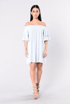 a0f35cfbed5b American Girl Dress - Light Denim. Off Shoulder ...