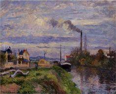 Quai du Pothuis, at Pontoise - Camille Pissarro, 1876