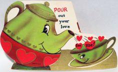 J1073 60s Teapot & Teacup! Vtg Unused Anthropomorphic Diecut Valentine Card