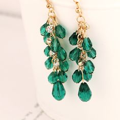 2016 Europe and the United States exaggeration is shining crystal tassels nightclub crazy the best sell earrings for women E012