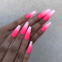 Hot Pink Ombre Nails Beautiful hot pink ombre coffin nails with matte finish by Ugly Duckling Nails page is dedicated to promoting quality, inspirational nails created by International Nail Simple Black Coffin Nail Designs For Winter Holidays Pink Ombre Nails, Pink Acrylic Nails, Neon Nails, Swag Nails, Hot Pink Nails, Matte Nails, Summer Nails Neon, Pink Acrylics, Fancy Nails