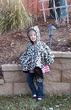 Leopard Print Girls' Hooded Fleece Poncho by beforeNafterdesigns
