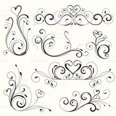 heart scroll design royalty-free stock vector art