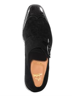 59217a5cdcc4 Christian Louboutin - Black Vikram Monkstrap Suede Shoes for Men - Lyst