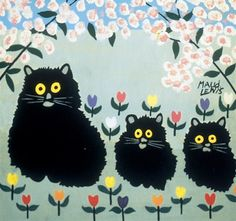 Three cats amongst spring blossoms by Maud Lewis