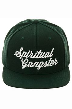 Spiritual Gangster Script Logo Snapback Dark Green - Spiritual Gangster - $35.00