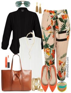 Plus Size Tropical Pants Outfits - Plus Size Spring Work Outfit - Plus Size Fashion for Women - alexawebb.com #alexawebb #plussize