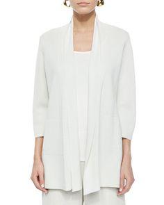 3/4-Sleeve Silk-Cotton Interlock Cardigan, Bone by Eileen Fisher at Neiman Marcus.
