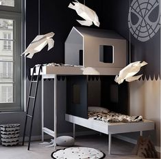 Modern Home Decor Loft bed ideas for teen girls and not only. These beds are a perfect fit for small rooms and will grant the room that particular modern touch that many are looking for. Geometric Lamp, Deco Kids, Childrens Beds, Kids Room Design, Kid Spaces, Small Rooms, Kids Furniture, Furniture Stores, Kids Bedroom Furniture Design