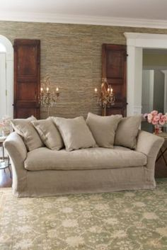 Cote D'azur Sofa - Throw Pillow Sofa, Deep Sofa, Linen Slipcover Sofa | Soft Surroundings